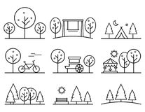Set of outline design vector icons. parkland concept symbol Royalty Free Stock Photos