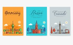 Set of outline different cities for travel destinations. Landmarks banner thin line of flyer, magazines, posters, book cover,. Banners. Layout world stock illustration
