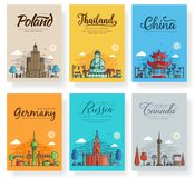 Set of outline different cities for travel destinations. Landmarks banner thin line of flyer, magazines, posters, book. Cover, banners. Layout world stock illustration