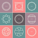 Set of outline emblems and badges Stock Photos