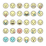 Set of outline emoticons, colorful emoji isolated on white background Royalty Free Stock Photo