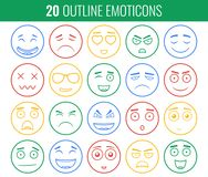 Set of outline emoticons, emoji isolated on white background. Emoticon for web site, chat, sms. Vector Stock Photos