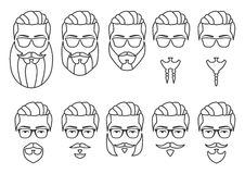 Set of outline face mustaches and beards stock illustration