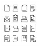 Set of  outline file management icons, document pictograms Royalty Free Stock Images