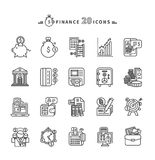 Set of Outline Finance Icons on White Background. Set of black finance thin, lines, outline icons. Items for investment, economy, account, balance, planning Royalty Free Stock Photos