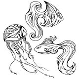 Set of outline fish and jellyfish, decorated boho pattern. Vector element for your creativity Royalty Free Stock Photos