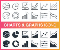 Set of outline and flat charts and graphs icons. Royalty Free Stock Photo