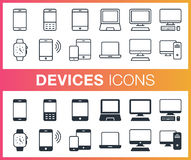 Set of outline and flat devices icons. Pixel perfect trendy icons for mobile apps and web design. Editable stroke Royalty Free Stock Photography