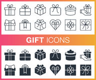 Set of outline and flat gift icons. Stock Photo
