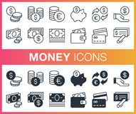 Set of outline and flat money icons. Stock Photos