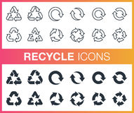 Set of outline and flat recycle icons. Stock Image