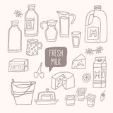 Set of outline food: dairy products - milk, yogurt, cheese, butter, milkshake. Vector illustration, isolated on white. Vector hand drawn eps 10 clip art Royalty Free Stock Image