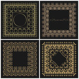 Set of outline frame for design monogram. Elements of the ornament of gold color on a black background with space for logo. Stock Image