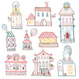 Set of outline hand drawn buildings. Royalty Free Stock Photo