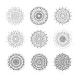 Set of outline hand drawn mandalas. Royalty Free Stock Photography