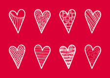 Set Of Outline Hearts On Red Background. Set Of 8 Outline Hearts With Different Kinds Of Texture On Red Background.14 February. Valentines Day Stock Photography