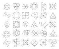 Set of outline hipster logos and design elements Stock Images