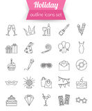 Set of outline holiday and party icons. Champagne. Fireworks, cake, gift box dress. Vector illustration Royalty Free Stock Photo