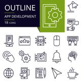 Set of outline icons of APP Development. vector illustration