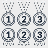 Set of outline icons of award medals Royalty Free Stock Photo