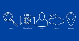 Set of outline icons on blue background royalty free illustration