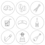 Set of outline icons on Cuba theme Royalty Free Stock Images