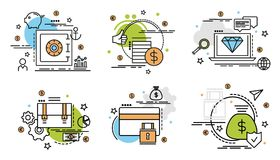Set of outline icons of finance and money. Colorful icons for website, mobile, app design and print Royalty Free Stock Photography