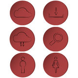 Set of outline icons on red circle, buttons, ribbons Stock Images