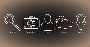 Set of outline icons: search, camera/photo, user, weather, location royalty free illustration