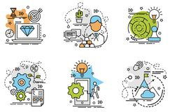 Set of outline icons of Strategy. Colorful icons for website, mobile, app design and print Royalty Free Stock Photography