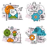 Set of outline icons of Support. Colorful icons for website, mobile, app design and print Stock Photos