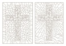 Contour set with illustrations of stained glass Windows with Christian crosses decorated with roses, dark outlines on white backgr. Set of outline illustrations Stock Photography