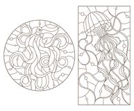 Contour set with illustrations of stained glass Windows with jellyfish and octopus, dark outlines on white background. Set of outline illustrations of stained Royalty Free Stock Image