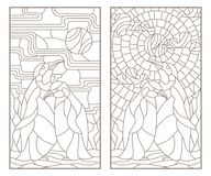 Contour set with illustrations of stained glass Windows with a pair of penguins, dark outlines on white background. Set of outline illustrations of stained glass Royalty Free Stock Photo