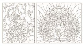 Contour set with  illustrations stained glass Windows with peacocks, dark outlines on white background. Set of outline illustrations stained glass Windows with Royalty Free Stock Photography
