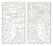 Contour set with illustrations of stained glass Windows with penguins, dark outlines on white background. Set of outline illustrations of stained glass Windows Stock Photo