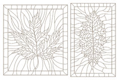 Set with outline illustrations in the style of vintage with leaves in a frames. Set of outline illustrations in the style of vintage with leaves in a frames stock illustration