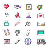 Set of Outline Medicine Icons Royalty Free Stock Image