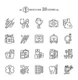 Set of Outline Medicine Icons on White Background royalty free illustration
