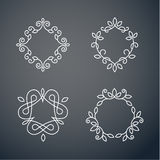 Set of outline monogram 02. Set of outline monogram frames. Elegant lineart logo design, vector illustration Stock Photography