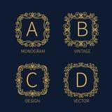 Set outline monograms frame Stock Photos