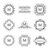 Set of outline monograms and logo design templates Royalty Free Stock Image