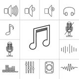 Set of outline music icons. Linear vector illustration Royalty Free Stock Photos