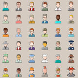 Set of outline people icons. Men. Stock Image