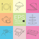 Set outline, planimetric, contour, planimetric line of  icons on the theme of the restaurants, caterers, catering, meals, ea Royalty Free Stock Photography