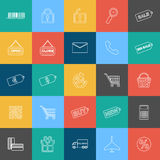 Set of outline shopping, e-commerce web icons Royalty Free Stock Photography