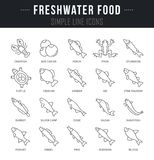 Set Vector Line Icons of Freshwater Food. Set of outline signs and symbols of freshwater food with names. Collection vector thin line icons and infographics Royalty Free Stock Image