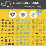 Set of Outline,  Silhouette and 3 colors On-Line Shopping icons isolated on yellow background. Cute design. Can be used as element Stock Photo