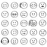 Set of Outline Smiley Faces Icons. With Different Emotional Expressions. Vector Illustration royalty free illustration