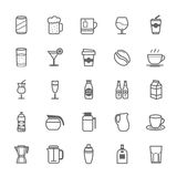 Set of Outline Stroke Beverage icon Royalty Free Stock Image